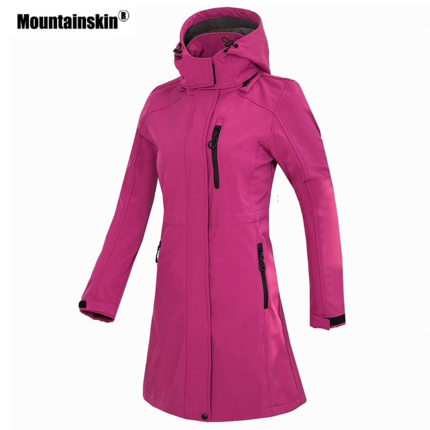 Mountainskin Women's Softshell Fleece Long Jacket Outdoor Windbreaker Hiking Camping Trekking Climbing Female Brand Coats VB076