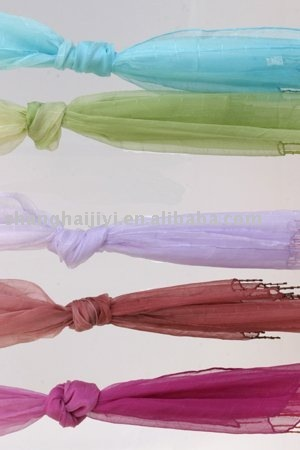 Silk chiffon scarf: with beaded trim, scarf has colour graduation and small self textured square.
