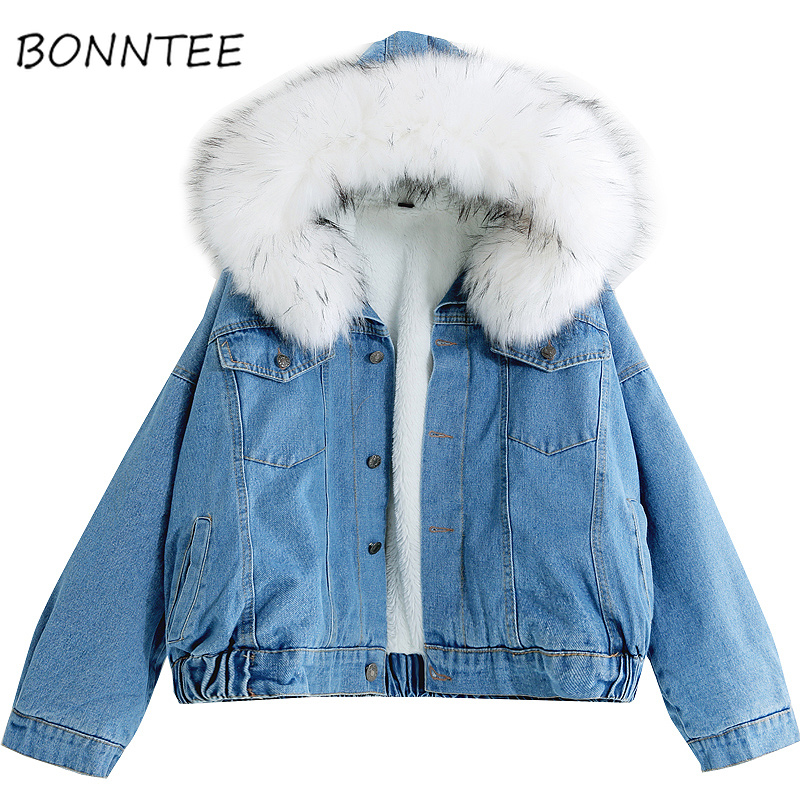 Women   Parkas   Denim Hooded Winter Warm Students Plus Velvet Thicker Fashion Short Style Womens Coat New Loose Kawaii Outwear Soft