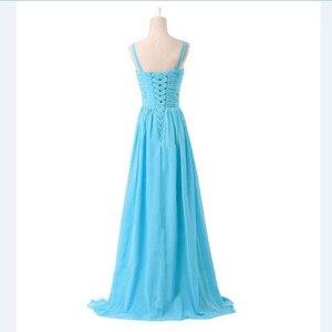 Image 3 - LLY1130Z # vネックスパゲッティストラップレースアップ紫ブルー花嫁介添人ドレスウェディングパーティードレス花嫁ファッションの女の子