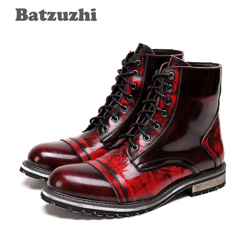 11998fde ... Мужские ковбойские ботинки на шнуровке из натуральной кожи с круглым  носом 3 ...