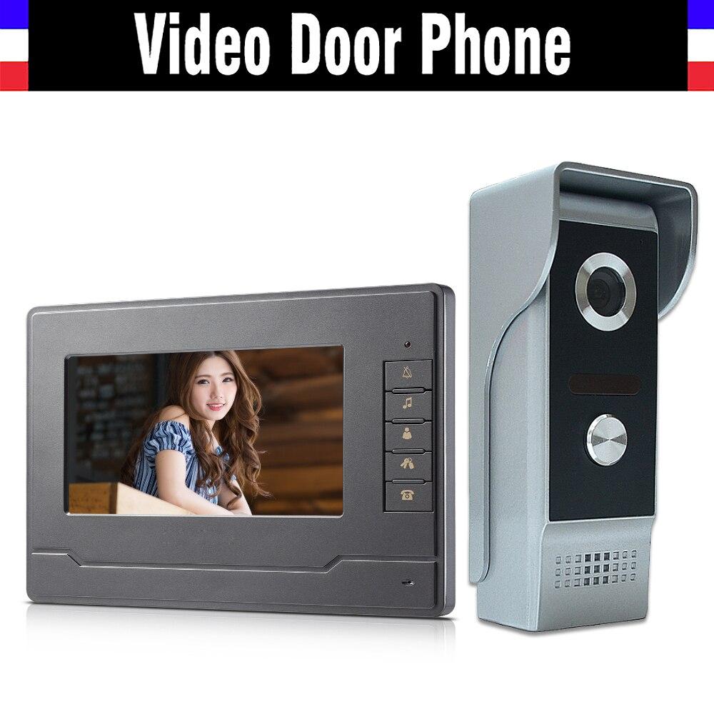 все цены на 7 inch video intercom system aluminum alloy Camera video door phone doorbell doorphones kit 1 LCD Monitor 1 IR Camera for home онлайн