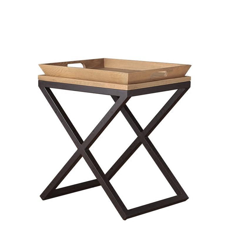 Meja Samping Meja Kopi dengan Baki Kayu End Table