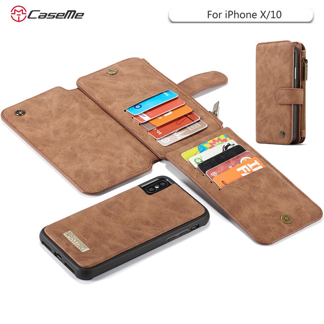 official photos 5efaf 2dc18 US $18.99 |CaseMe For iPhone X Genuine Leather Magnetic Hand Bag Case for  iPhoneX 10 Multi Functional Stand Wallet Cover Coque-in Wallet Cases from  ...
