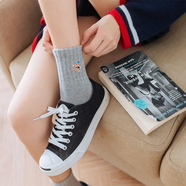 New autumn winter women socks Japanese cartoon embroidery planet astronaut rocket space patterned cotton unisex socks couple sox 2