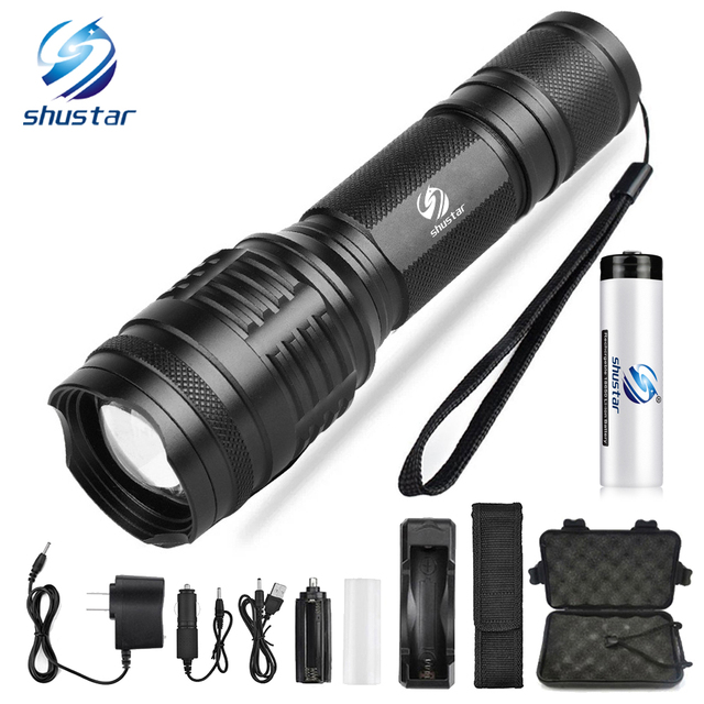Powerful LED flashlight T6/L2 8000 Lumens torch 5 lighting modes zoom flashlight Camping light  Used for night riding camping