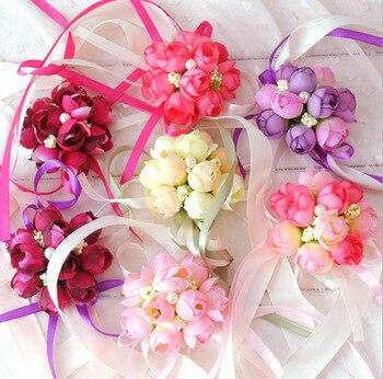 Wholesale 100Pcs Wrist Corsage Bridesmaid Sisters hand flowers Artificial Bride Flowers For Wedding Party Decoration Bridal Prom