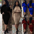 2017 New Sexy Night Club Wear Bodycon Dress Long Sleeve O-neck Party Sexy Crop Tops And Skirts Set For women's Sets S-XL