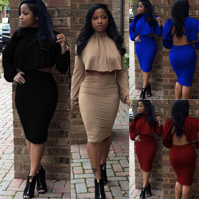 2019 New Sexy Night Club Wear Bodycon Dress Long Sleeve O-neck Party Sexy Crop  Tops And Skirts Set For women s Sets S-XL cd48b84e57fe