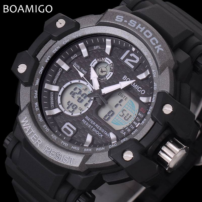 men sport watches LED digital watches military analog quartz watch rubber BOAMIGO brand gift clock 50M waterproof reloj hombre boamigo men sports watches brown leather band man military quartz led digital analog casual wristwatches waterproof reloj hombre