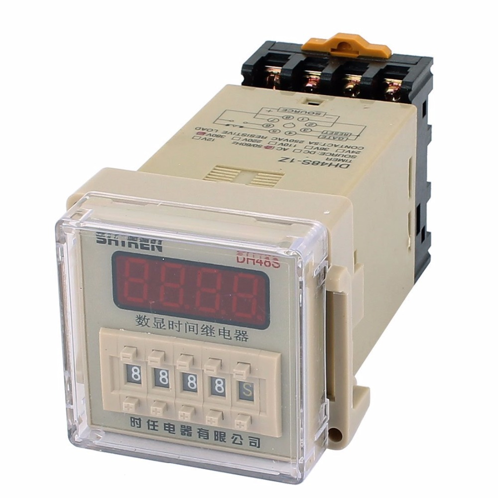 цена на DH48S-1Z 8 Terminals SPST 0.01S-9999H LCD Display Time Timer Delay Relay AC/DC12V 24V AC220V w Socket 48*48mm