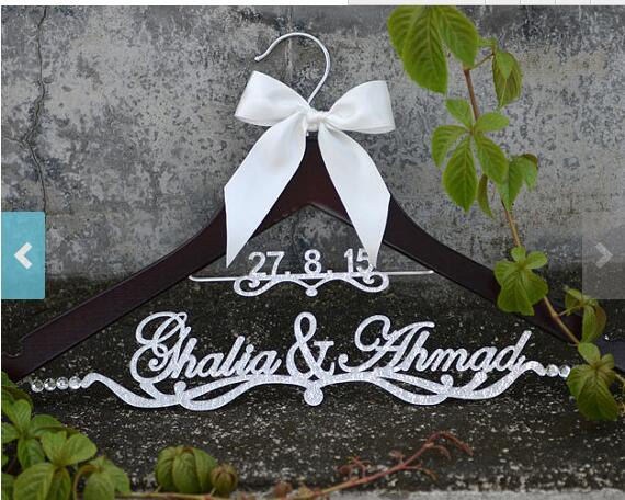 Buy glitter silver personalized wedding for Wedding dress hanger amazon