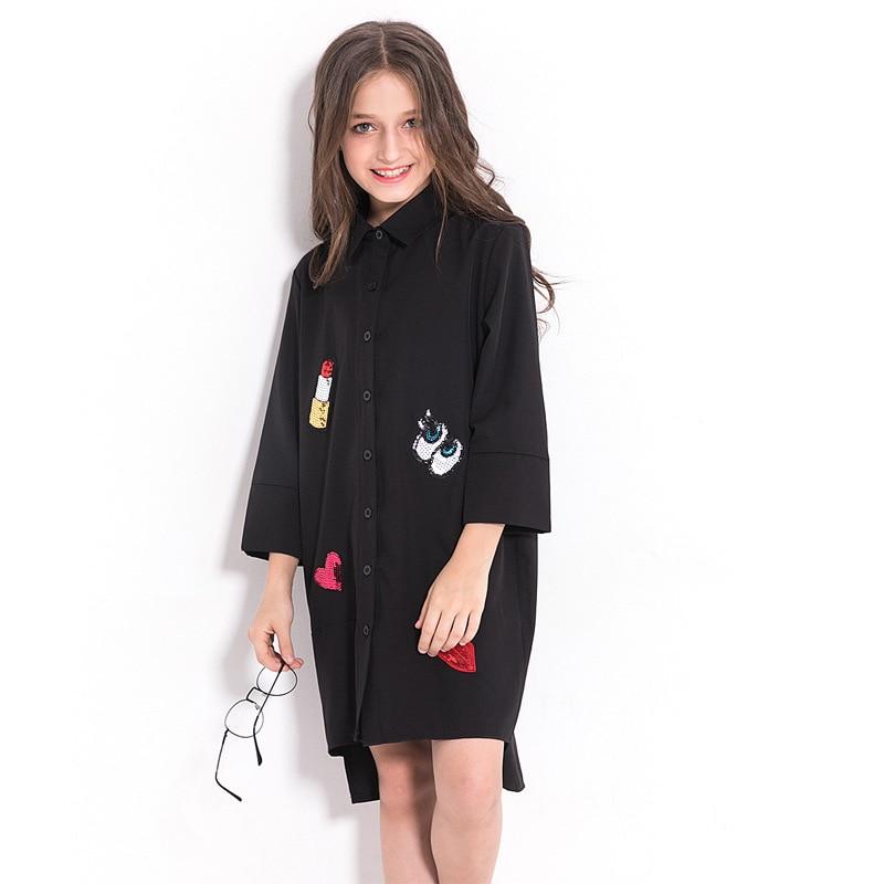 Tween Girl Fashion Black: Black Chiffon Blouse For Girls Teenage Girls Clothing 12