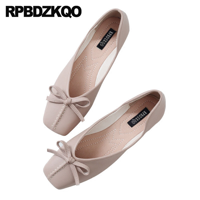 Bowtie Soft Ballet Flats Women Size 9 Beautiful China White Pink 11 Square Toe Large Size 10 Cute Shoes Ballerina Ladies 34 women ballerina pointed toe ladies designer shoes china 2018 ballet ankle strap suede pink cute elastic flats japanese cross