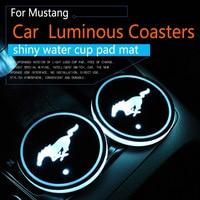 2Pcs Set For Ford Mustang Logo Badge Car Led Shiny Water Cup Pad Groove Mat Luminous