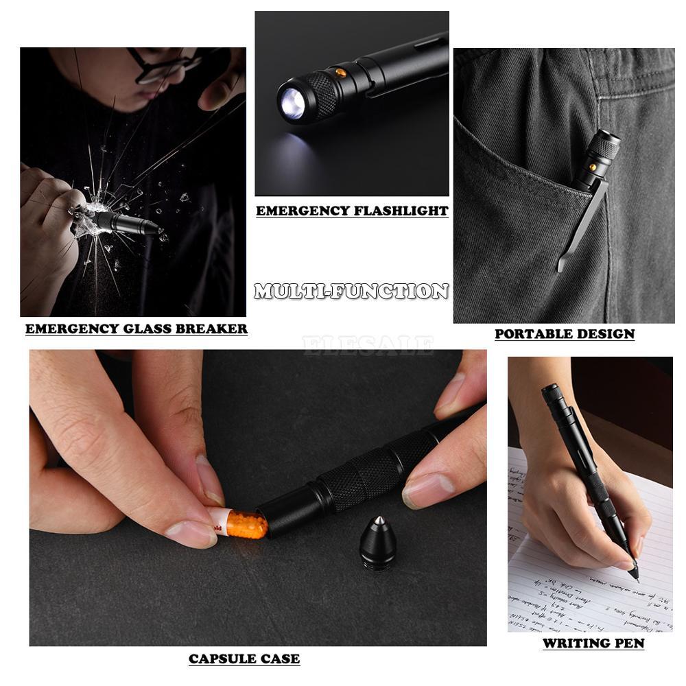 lowest price Multi-Function Military Defense Tactical Pen Emergency Flashlight Strobe Bottle Opener Glass Breaker Waterproof Storage Case