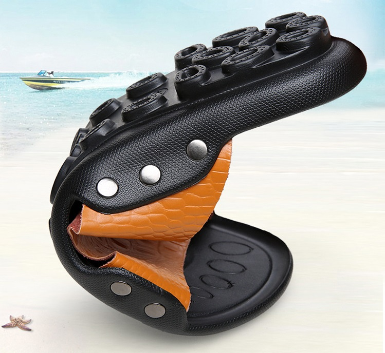 2018 New Men Genuine Leather Holiday Beach Shoes Flip Flops Men`s Casual Flat Shoes Sandals Summer Slippers For Men (2)