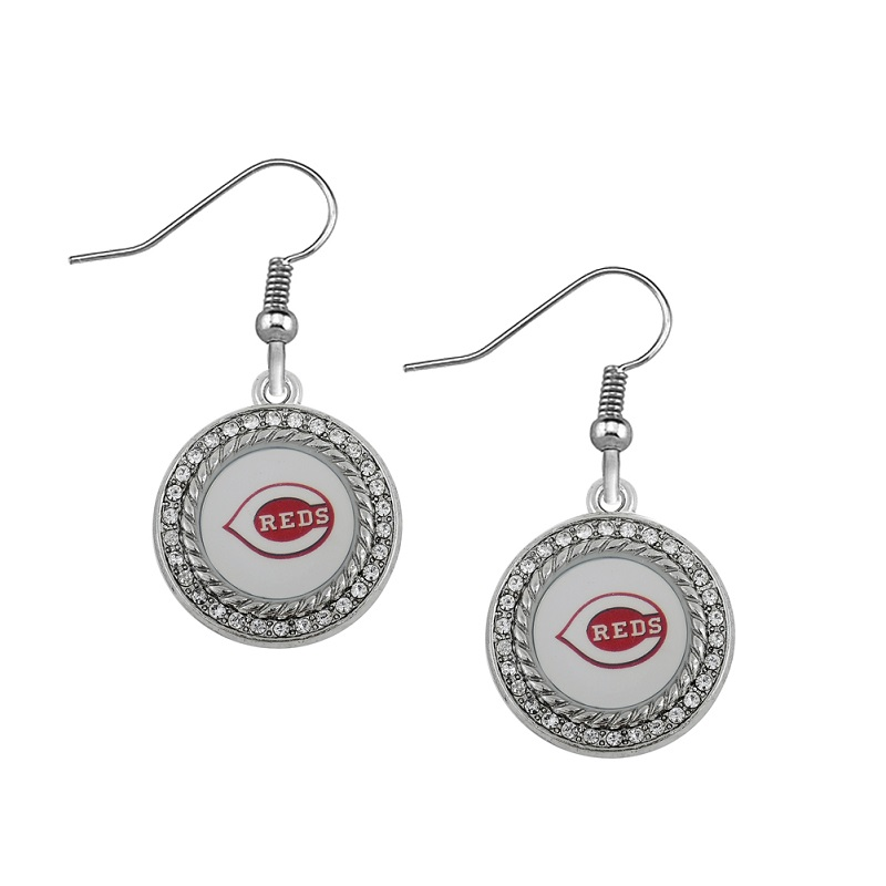 2 Styles Metal With Crystal Cincinnati Reds Charm Drop Earrings Baseball Fans Earrings