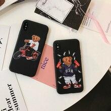 Lüks marka ayı Cilt doku moschin kapak iphone için kılıf 6 artı 7 7 artı 8 8 artı X XR XS MAX yumuşak silikon suprem telefonu co...
