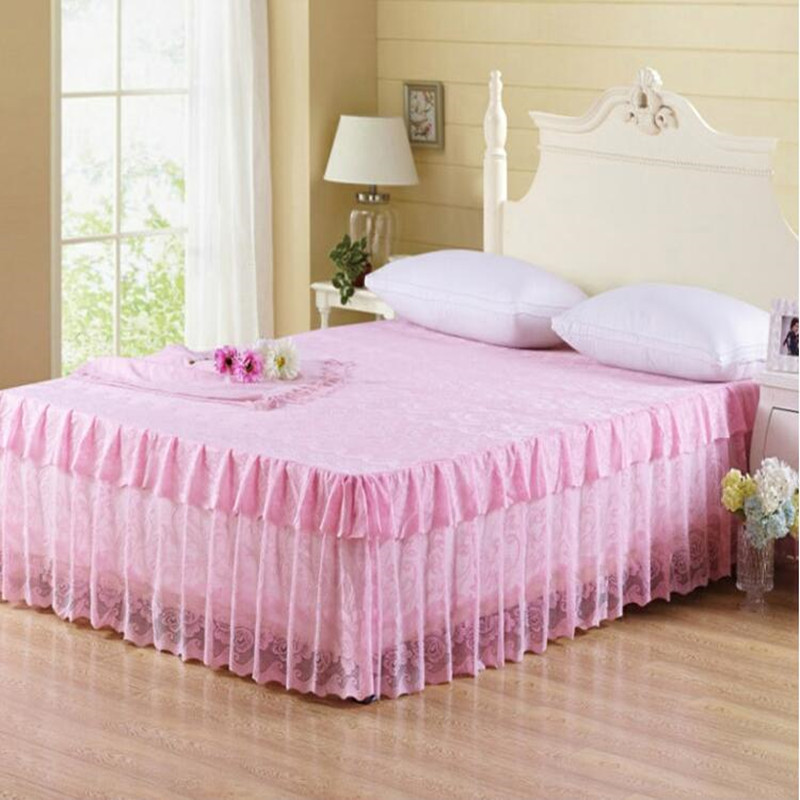 Hot sale bed skirts pink beige purple princess lace for Bunk beds for sale under 200