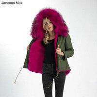 New Genuine Real Raccoon Fur Collar Parka Coat Women Winter Top Warm Jacket Fur Lined S1522