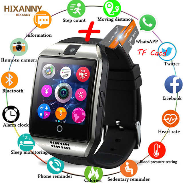 Bluetooth SmartWatch ip68 Q18 Fitness Tracker Touch Screen Support APP Download TF Sim Card Camera Dial /Call for Android Phone