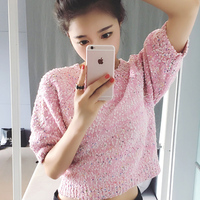 Jumper Delicate Women Show Pink Sequins Short Sleeved Knit Tops Pullover Sweater For Summer O neck Women's Clothes