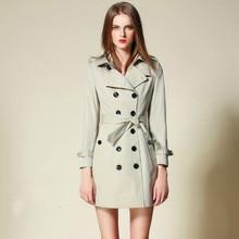 New Runway Autumn Women's Trench Cotton Slim Female British Brand Designer Classical Double Buttons Belt Outwear Coats Hot