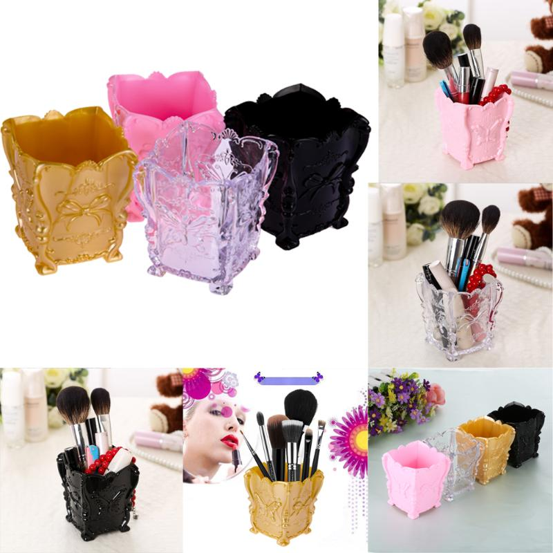 Retro Acrylic Butterfly Carved Desktop Cosmetic Storage Lipstick Brush Container Makeup Box Case Holder Box