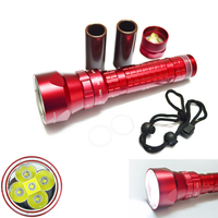 DX5 CREE LED XM L2 T6 50W Underwater Diving Flashlight Red Aluminum Alloy 100m Waterproof Electric Torch Bright/Low Bright/Flash