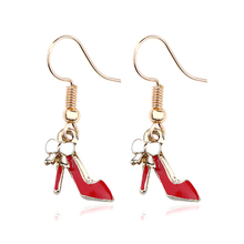Fashion 4Colors High Heels Pendant Earrings Ladies Gold Bow Metal Tassel Charm Jewelry