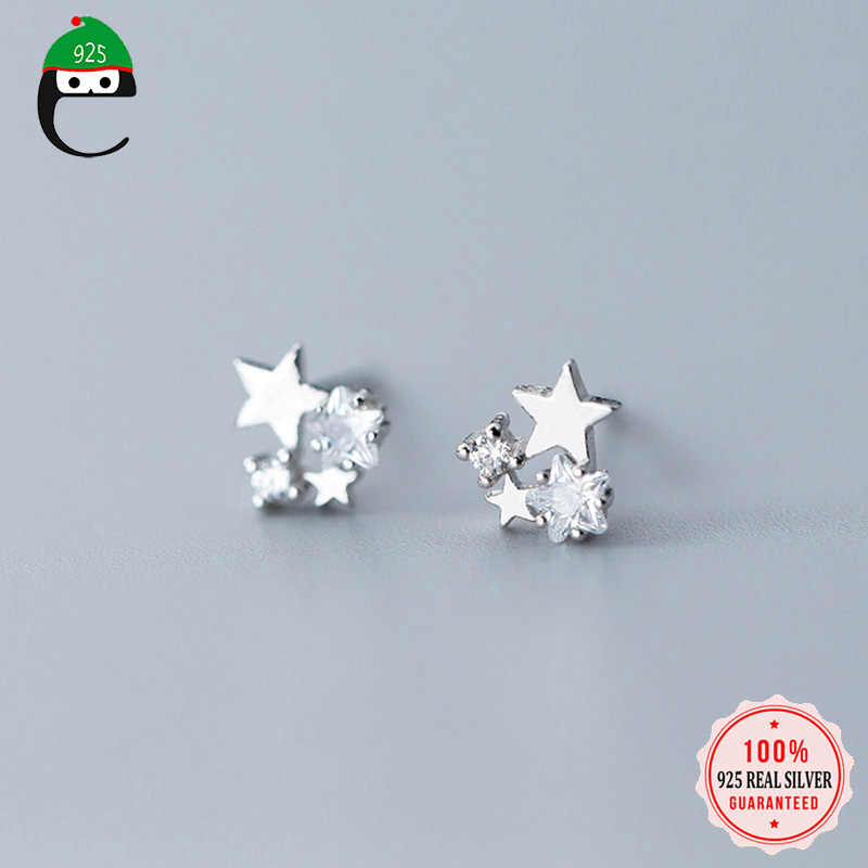 ElfoPlataSi 100% 925 Solid Real Sterling Silver Jewelry 6mmX6mm Star With CZ Stud Earring For Teen Girl Friend Kid Lady XY1030