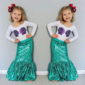 Children Kids Baby Girl Shell Tops T-shirt+ Fishtail Skirts Mermaid 2pcs Outfits Toddler Girls Child Clothing Set Costume