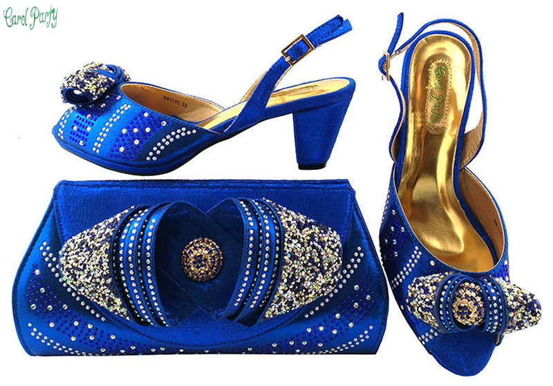 Nice Design  Italian Shoes With Matching Bags Latest Rhinestone African Women Shoes and Bags  MM1045 2016 spring and summer free shipping red new fashion design shoes african women print rt 3