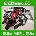 Injeção para YAMAHA Thundercat 1997-2007 YZF 600R YZF600R 97-07 97 98 99 00 01 02 03 04 05 06 07 vermelho prata carenagens pretas kit