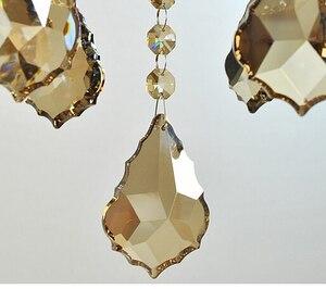 100 шт./лот 38 мм шампанского цвета Кристалл кленовый лист призма люстра части подвески бесплатная доставка
