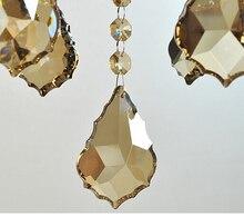 100 قطعة/الوحدة 38 مللي متر الشمبانيا اللون كريستال مابل ليف بريزم الثريا أجزاء قلادة شحن مجاني