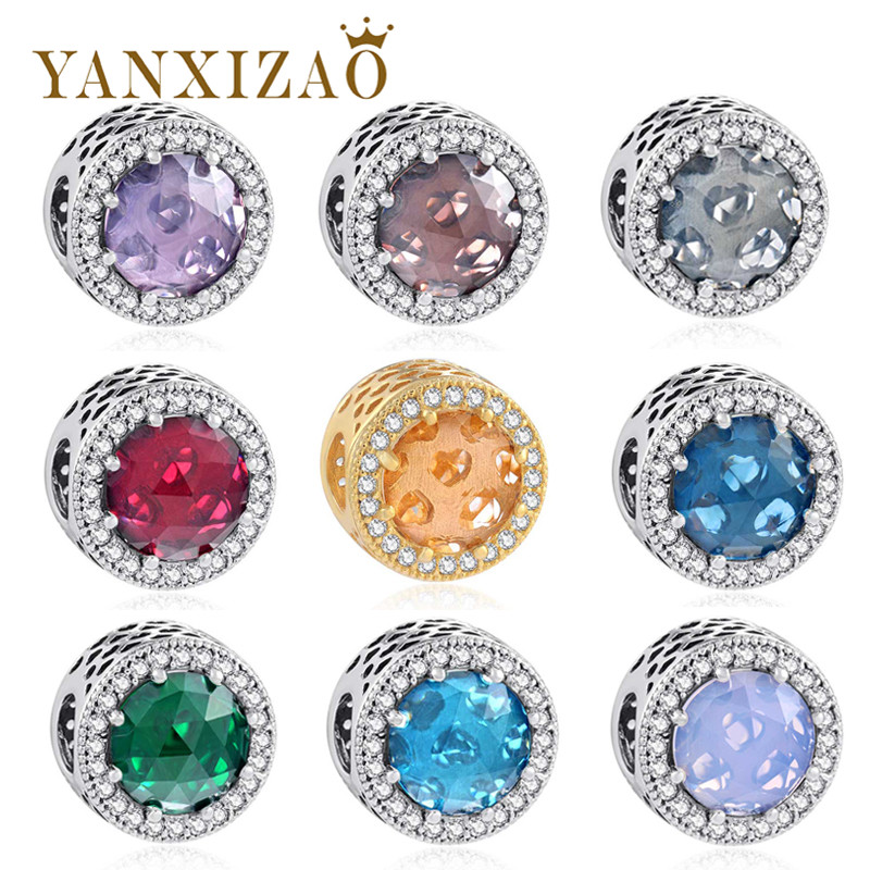 Yanxizao 2018 New Bracelet Beads 925 Silver Charms Fit Pandora Beads Original Charms Multicolor Round Bracelet Jewelry DIY Beads 704201 000 [ data bus components dk 621 0438 3s]