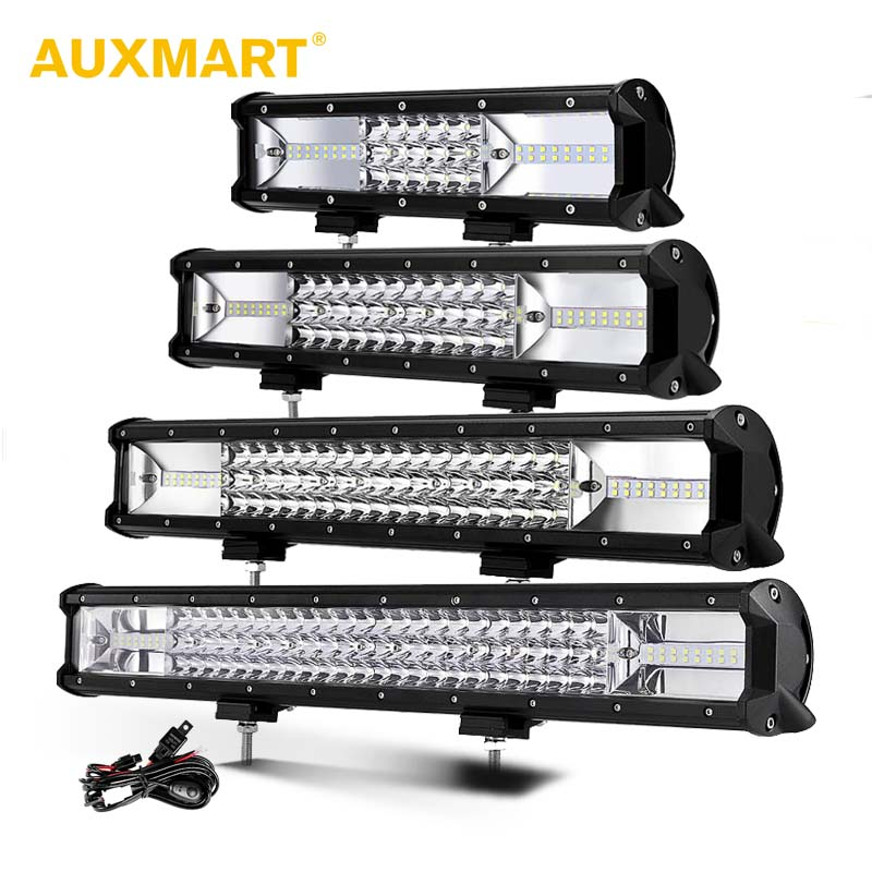 AUXMART 3-Row 5'' 12 16 20 23 LED Light Bar offroad Straigh Driving Light Led Work Light Bar 12v 24v Truck SUV ATV 4WD 4x4 itian portable universal 5v 9000mah li ion battery dual usb power bank white blue