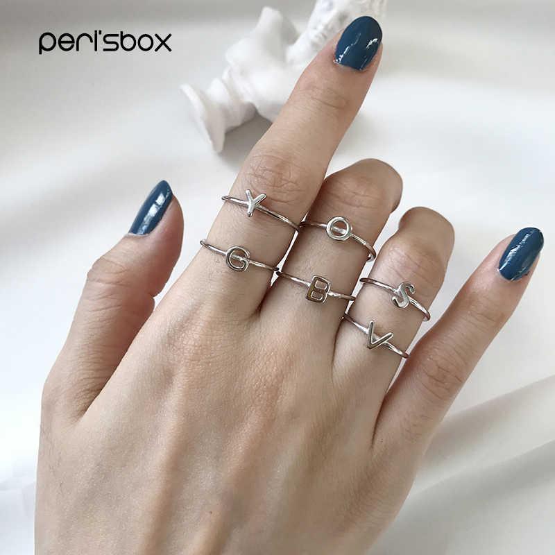 Peri'sBox Minimalist 925 เงินสเตอร์ลิงจดหมายแหวนผู้หญิงง่ายส่วนบุคคลเริ่มต้นแหวน Bague Stackable ตัวอักษรแหวน