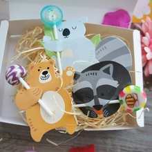 three style mix 50pcs lollipop cover bear raccoon koala as children birthday baby shower candy decorate party gift packaging