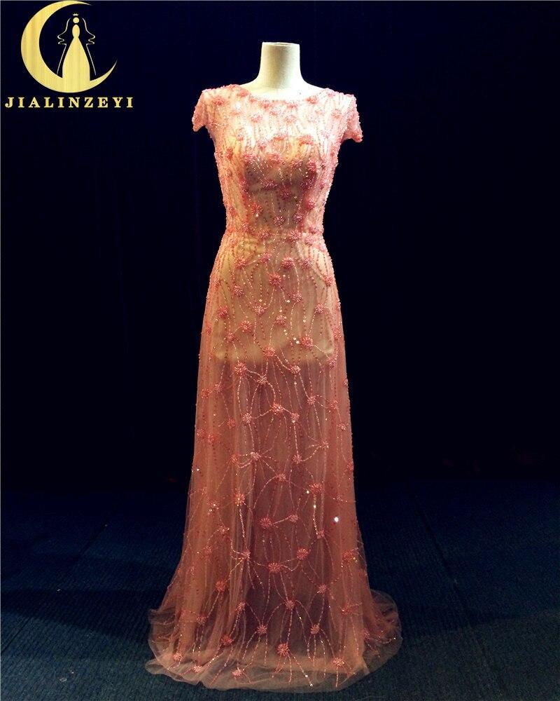 Рейн Реална проба Изображение Оранжево Червен къс ръкав Пълна Луксозни мъниста Пайети Тюл Bling официална рокля вечер рокля LY006