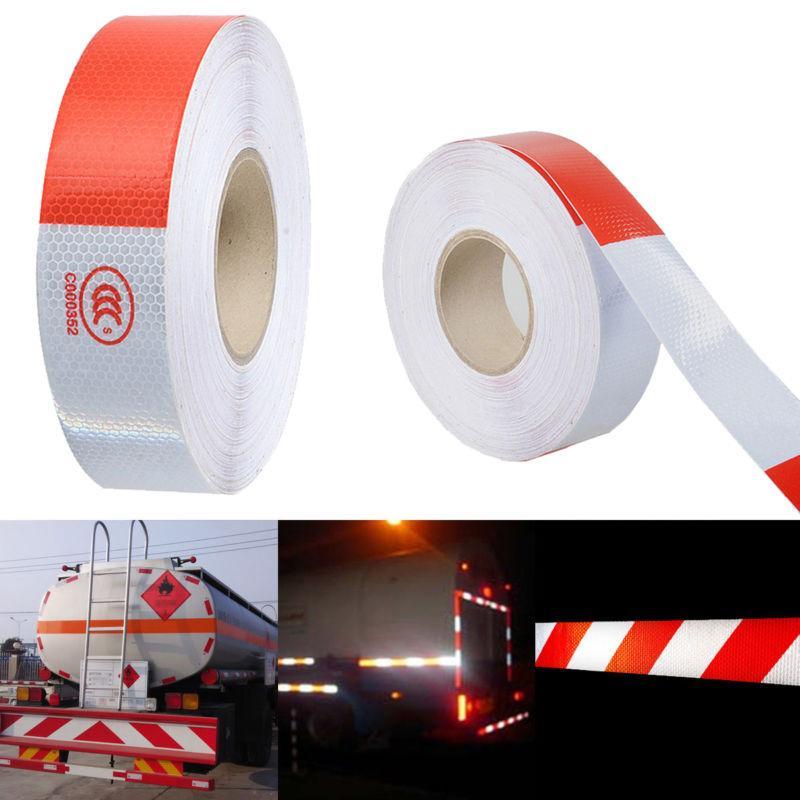 5 cm x 45 m Riflettente Rotolo di Nastro Bianco e Red Trailer Conspicuity Dot Statellite Riscaldamento Nastro Riflettente per il Veicolo