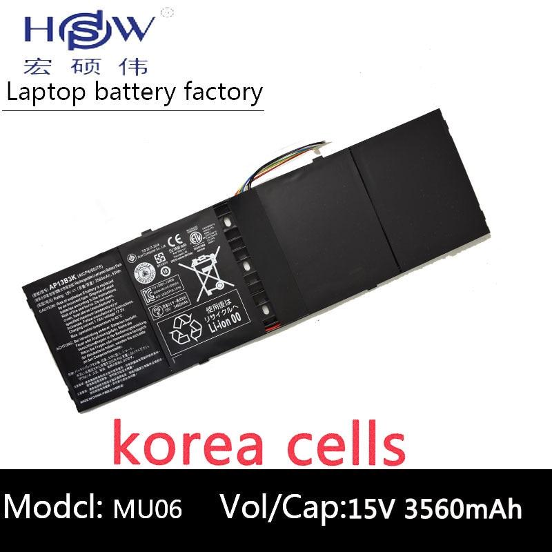 HSW batterie d'ordinateur portable pour Acer Aspire R7 M5-583p batterie pour ordinateur portable Série Ap13b3k Ap13b 4lcp6/60/80 3560 mah 15 v batterie