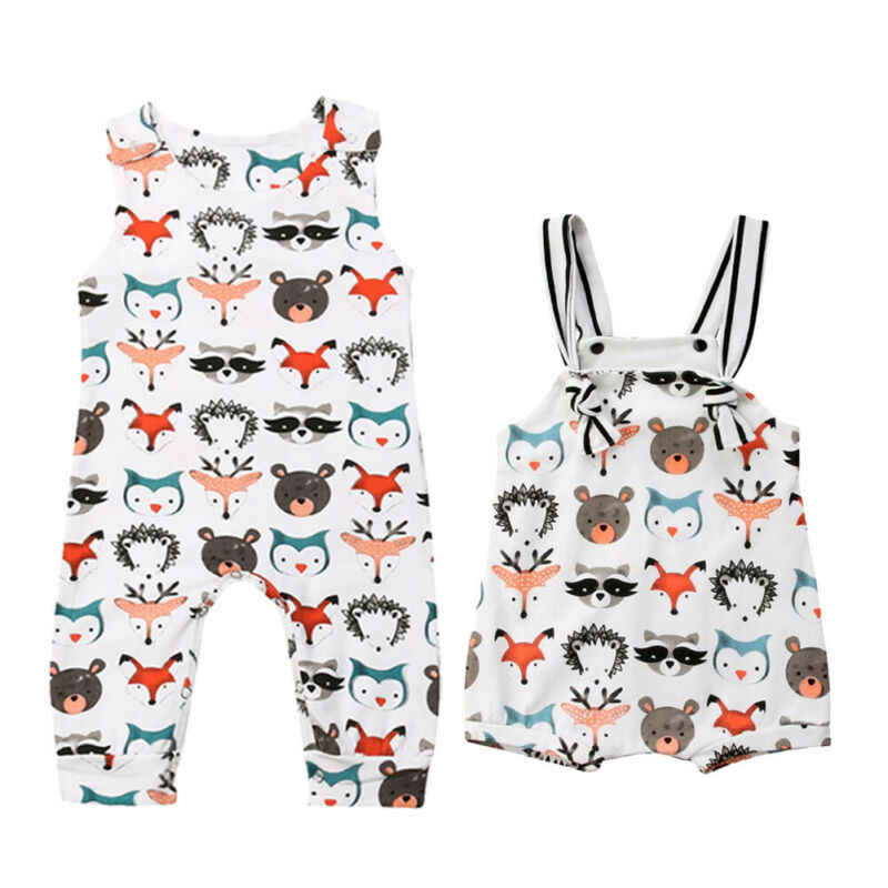 Pudcoco Toddlers Baby Boys Girls Sleeveless Cartoon Animals Print Romper Jumpsuit Summer Bodysuit