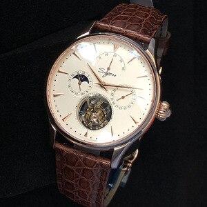 Image 2 - Многофункциональные Мужские механические часы ST8007 с полым турбийоном, маленькие часы с 24 часовым циферблатом, деловые часы для мужчин