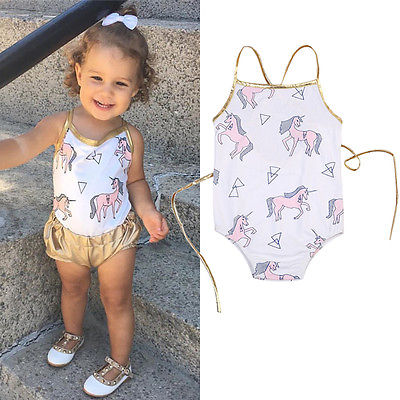 2018 Cute Newborn Baby Girls Horse Cotton Romper Jumpsuit Outfits Unicorn Cartoon Clothes Girls Summer Clothing
