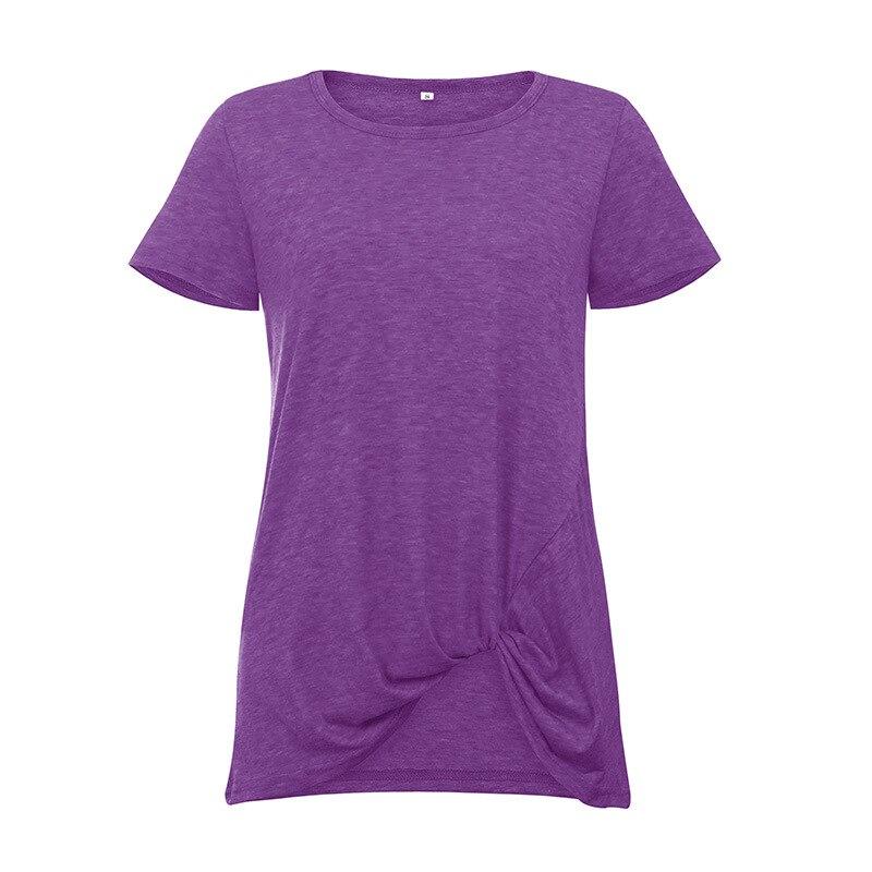 2019 New Summer Women T shirt Wear Short Sleeve Knotted Round Neck Top Short Sleeve Short T shirt in T Shirts from Women 39 s Clothing