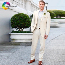 2019 Summer Slim Fit Beige Men Suits For Wedding Bridegroom Groom Costume Prom Casual Tuxedo Best Man Blazer Jacket+Pants+Vest