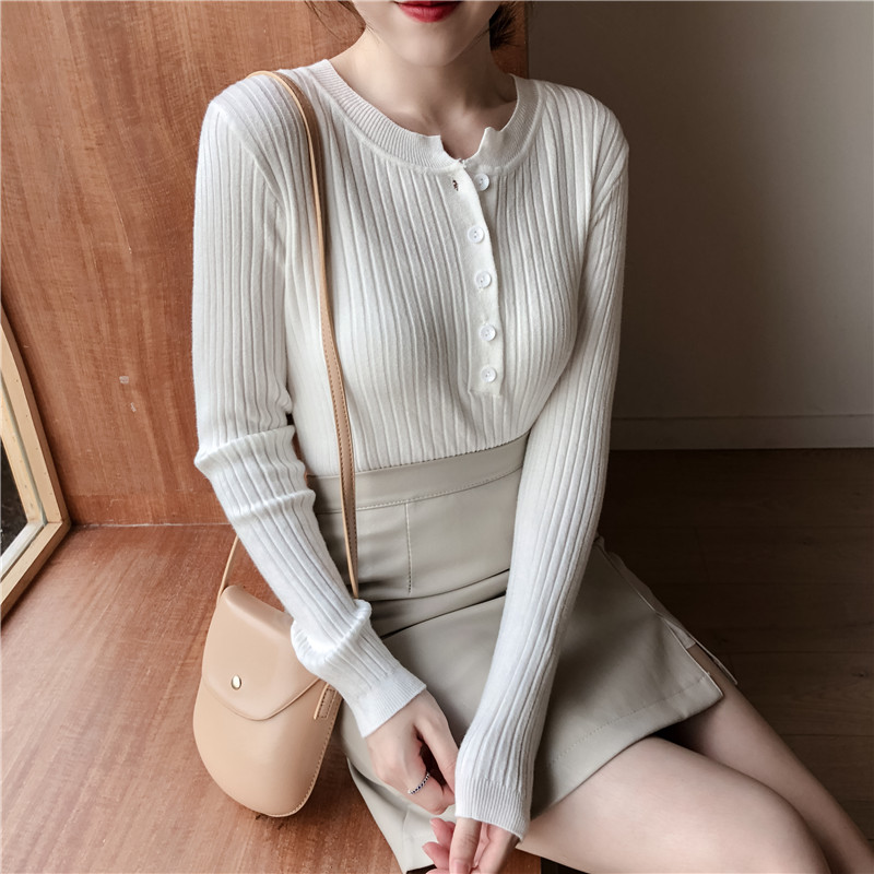 Colorfaith Women Pullovers Sweater New 19 Knitted Autumn Winter Spring Fashion Sexy Elegant Buttons Casual Ladies Tops SW9065 16